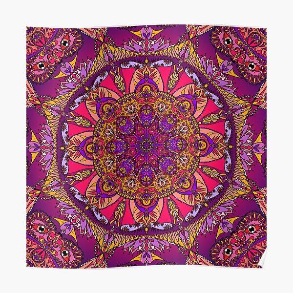 Trippy Mandala Face - Purple Poster