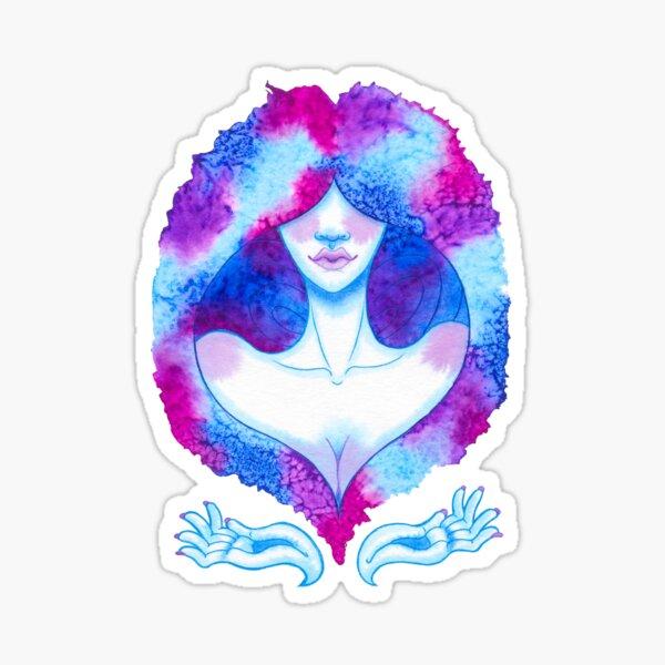hair watercolour girl Sticker