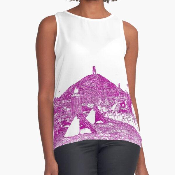 Glastonbury Festival 2020 - Pink Print - Glasto 50 -  50th Anniversary Design Sleeveless Top