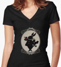 Alice in Wonderland White Rabbit Oval Portrait Women's Fitted V-Neck T-Shirt
