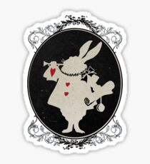 Alice in Wonderland White Rabbit Oval Portrait Sticker