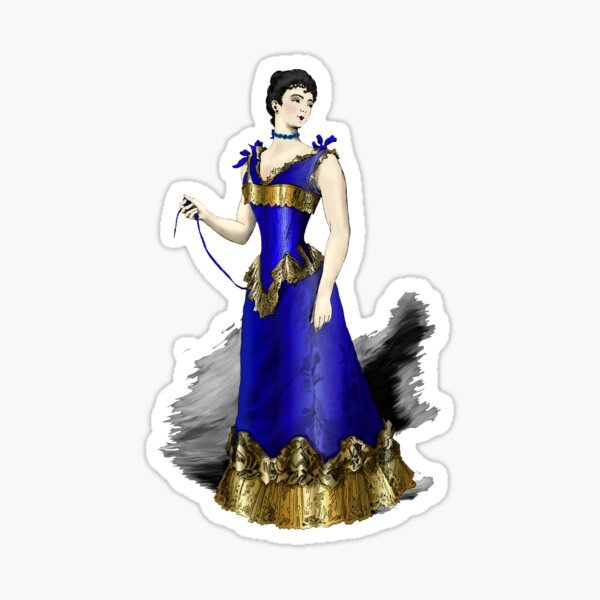 Elegant Victorian Woman in Blue Corset Gown Sticker