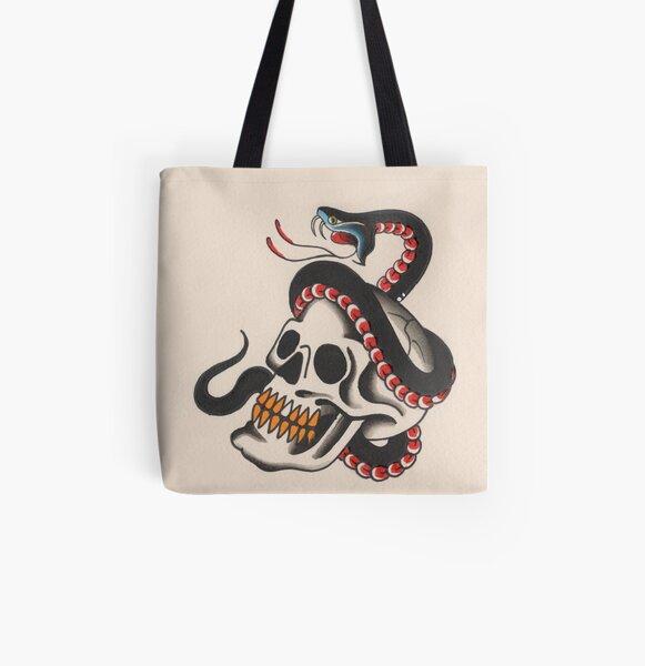 Skull & Snake  All Over Print Tote Bag