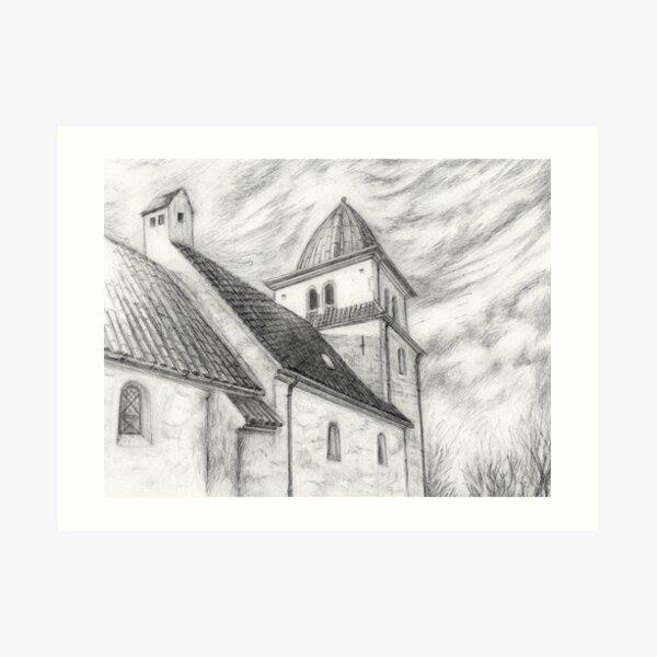 Danish village church Art Print