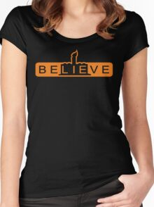 beLIEve orange Women's Fitted Scoop T-Shirt