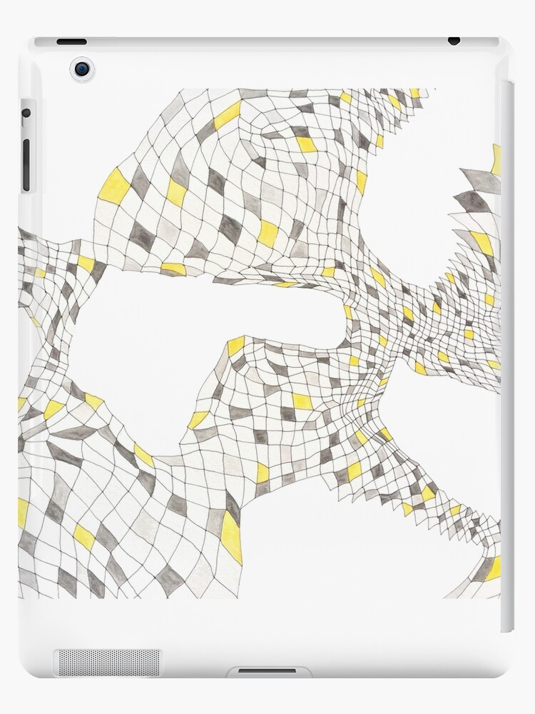 Geometric landscape silver & yellow drawing by BellaBark