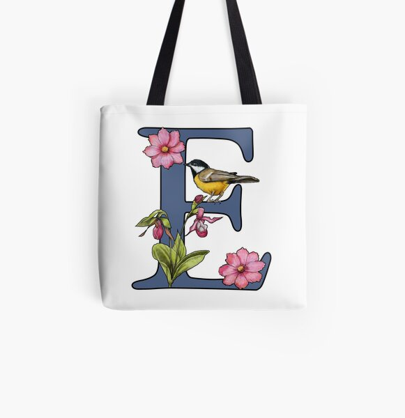 Initial Letter A-Z Tote Bag 2020 2021 Flowers Fuchsia Theme Name Custom Any Initial Birthday Funny Gift Joke Woman/'s Shopping Reusable