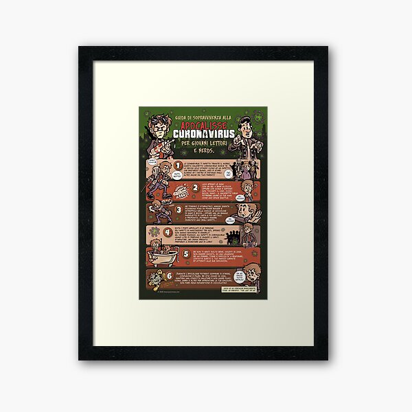 Guida di Sopravvivenza all'Apocalisse Coronavirus (Italiano) Framed Art Print