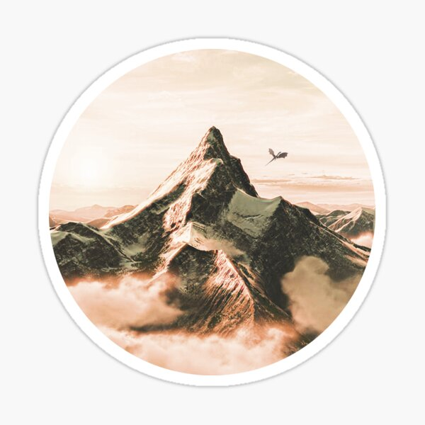 Pegatina montaña solitaria Pegatina