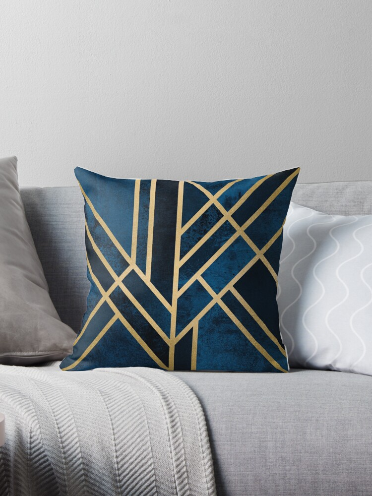 Art Deco Throw Pillows.Art Deco Midnight Throw Pillow By Elisabeth Fredriksson