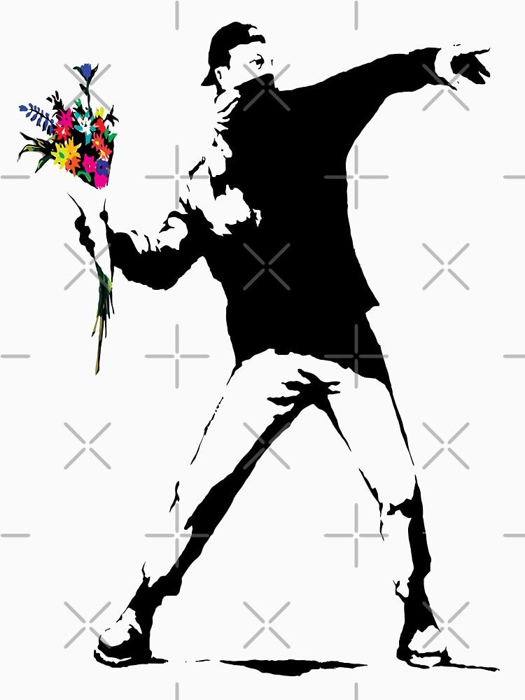 Banksy Protester Throwing Flowers  by belugastore