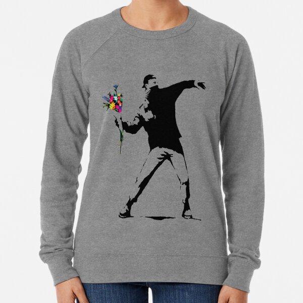 Banksy Protester Throwing Flowers  Lightweight Sweatshirt