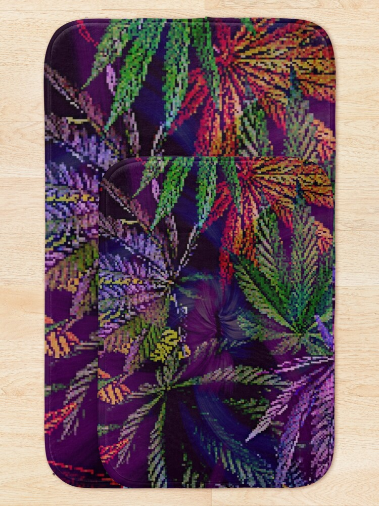 Alternate view of Psychedelic Marijuana Cannabis Leaves Bath Mat