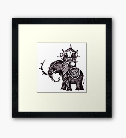 War Elephant black and white pen ink drawing Framed Print