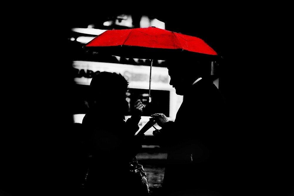red umbrella  by adampoklekowski
