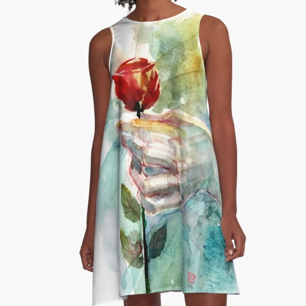 Last Rose Given - Watercolor Art by Tony Moy A-Line Dress