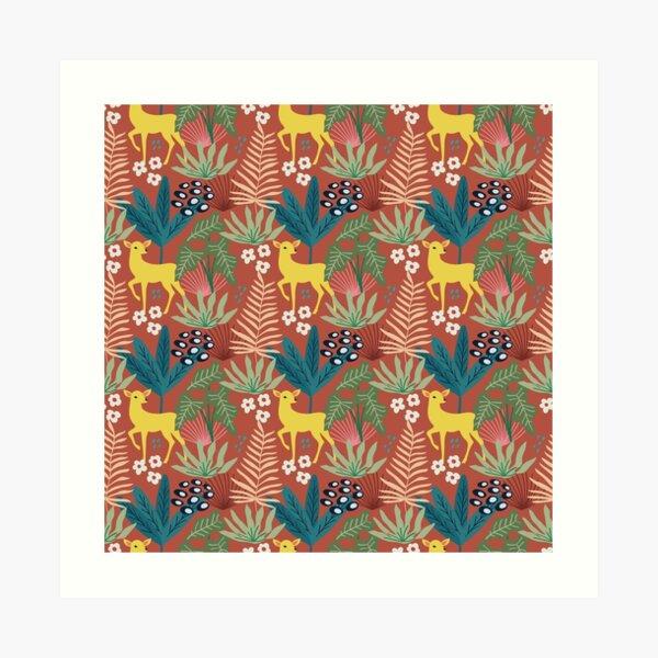 Spring Pattern Deer 1 Art Print