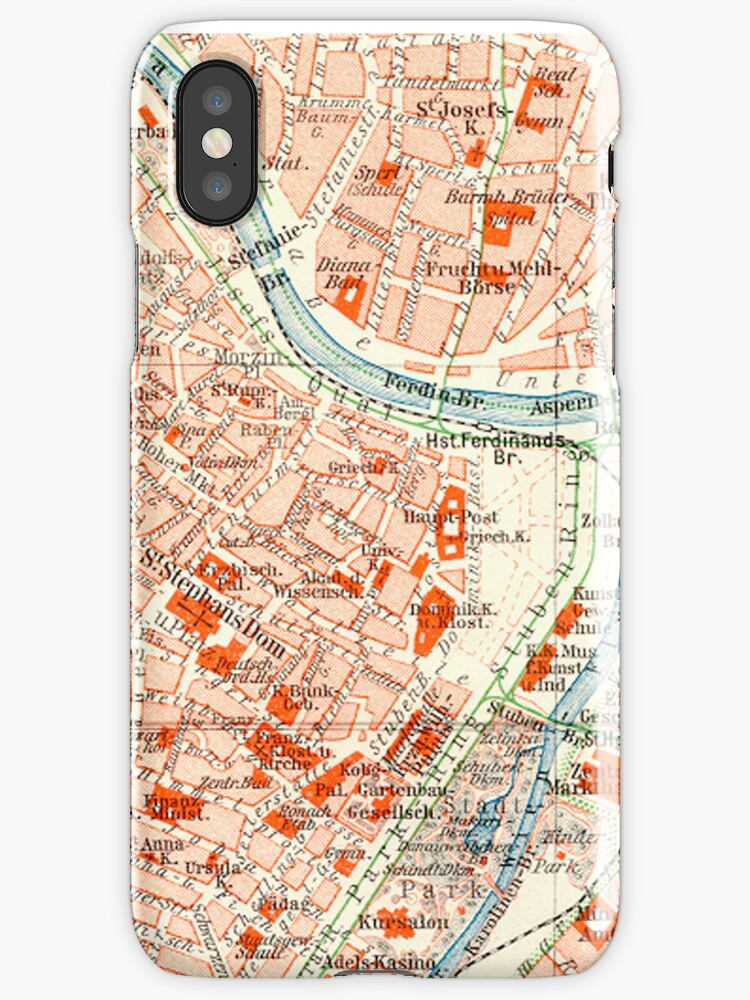 Vienna Vintage Map iPhone Case by Mary Grekos