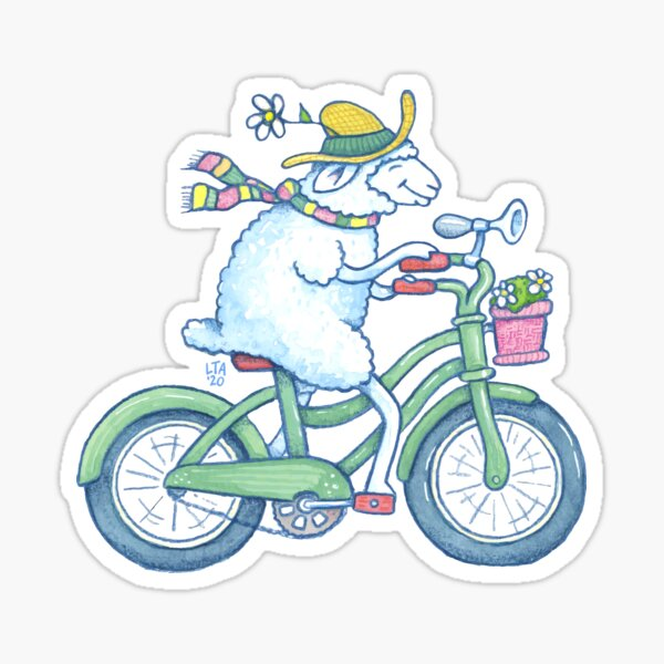 Sheep on a Bicycle Sticker