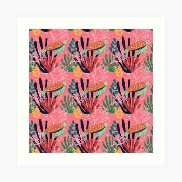 Spring Pattern Tortoise 4 Art Print