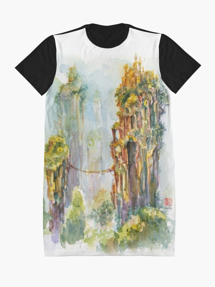 Alternate view of Pillars of Angae - Watercolor Art by Tony Moy Graphic T-Shirt Dress