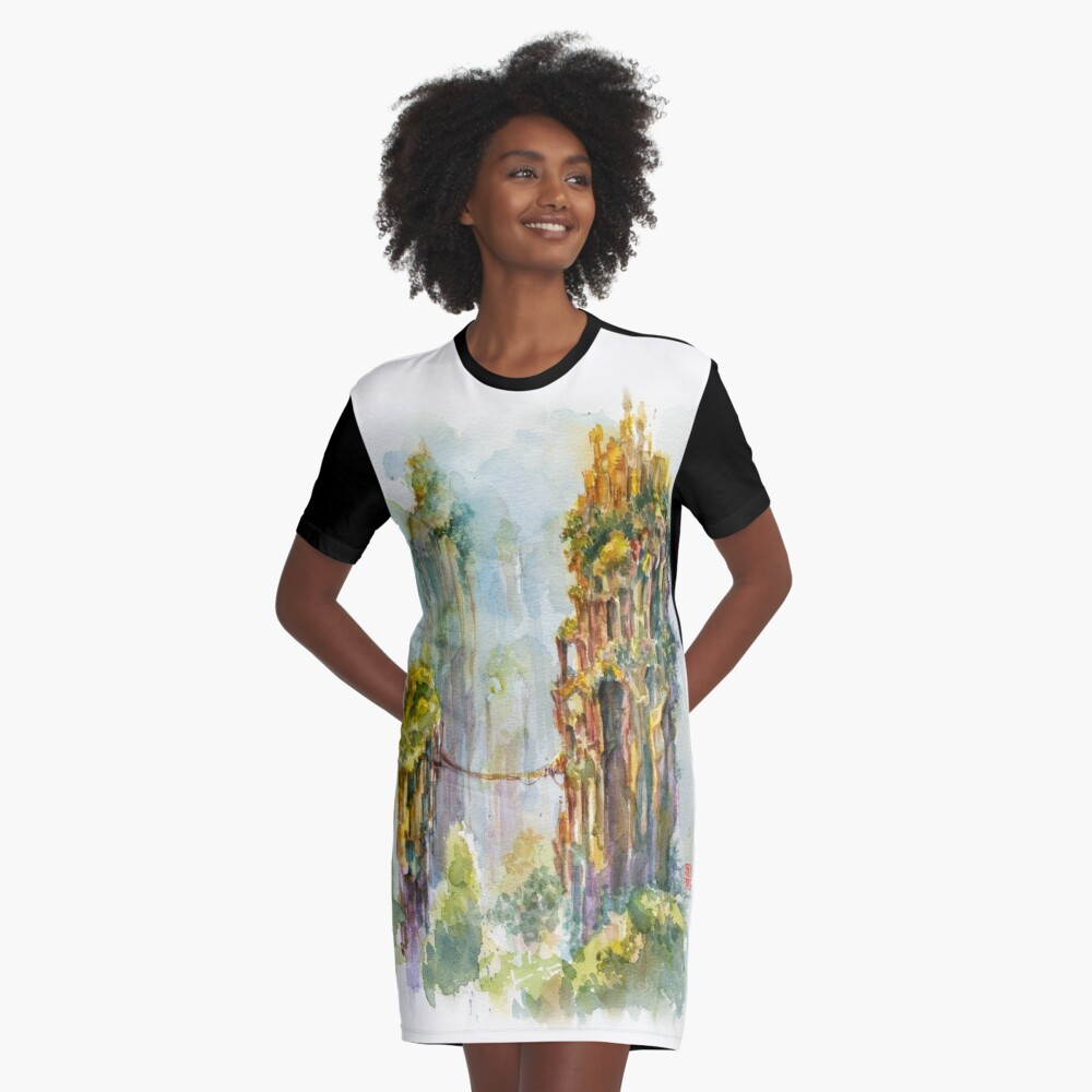 Pillars of Angae - Watercolor Art by Tony Moy Graphic T-Shirt Dress