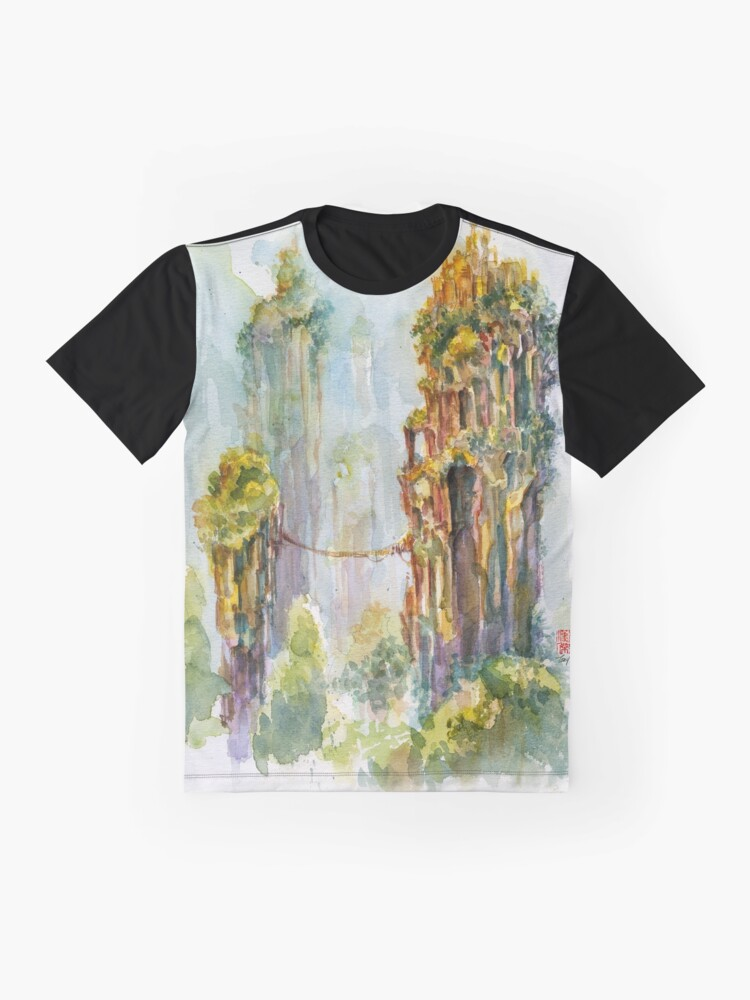Alternate view of Pillars of Angae - Watercolor Art by Tony Moy Graphic T-Shirt