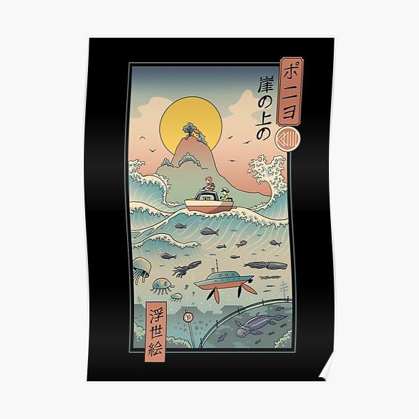 Ukiyo e by the Sea Poster