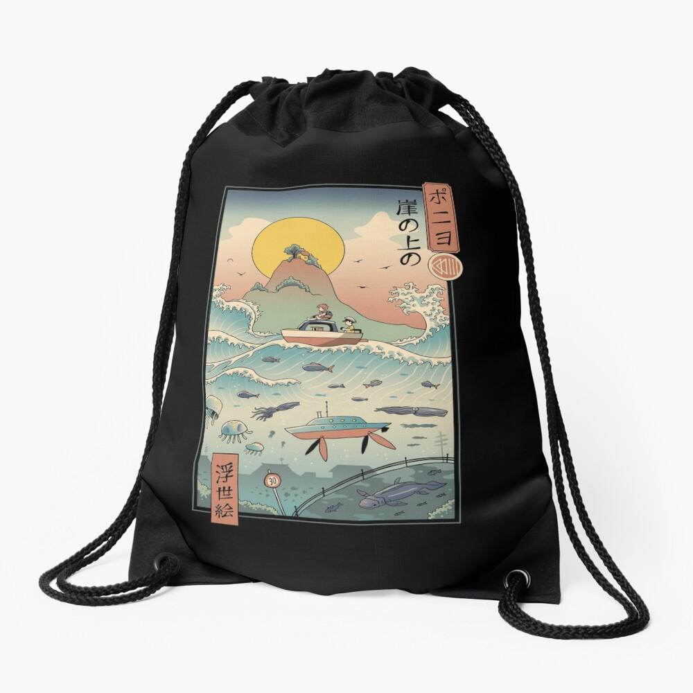Ukiyo e by the Sea Drawstring Bag