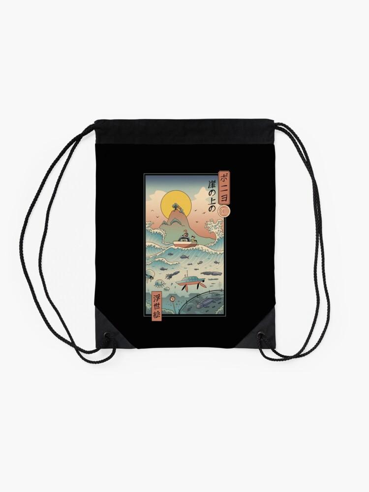 Alternate view of Ukiyo e by the Sea Drawstring Bag
