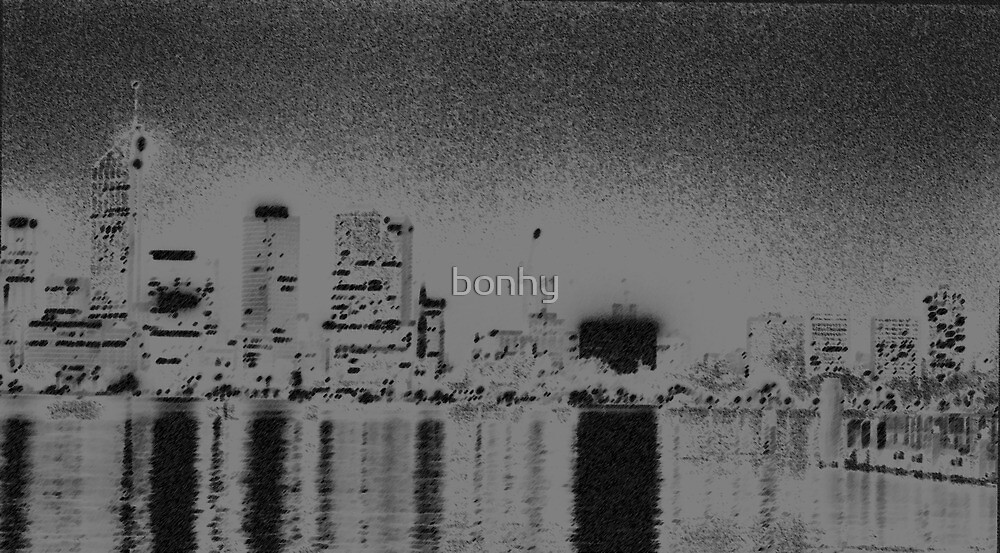 Perth Skyline in Charcoal by bonhy