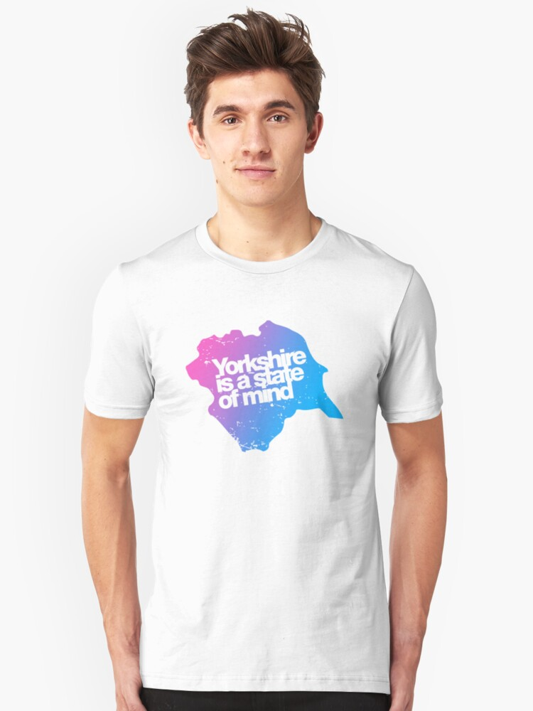 Yorkshire is a state of mind - Pink/blue Unisex T-Shirt Front