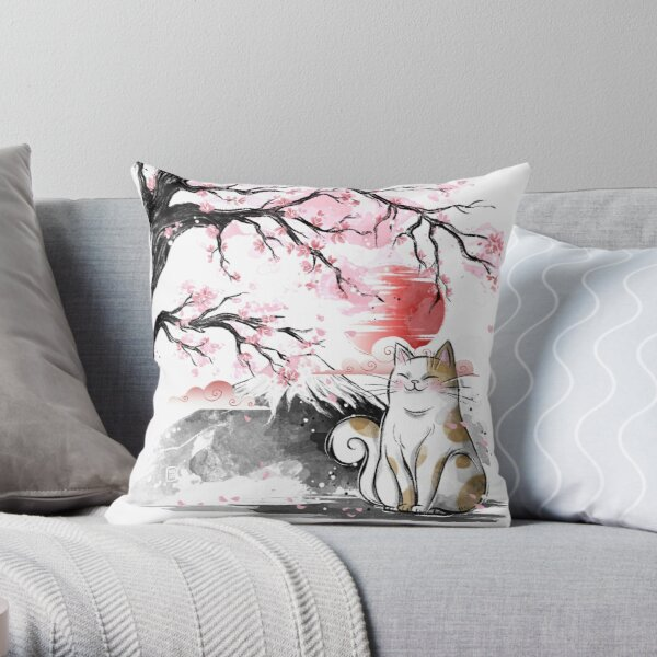 Sakura cat Throw Pillow