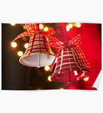 Christmas Bells Red and White Poster