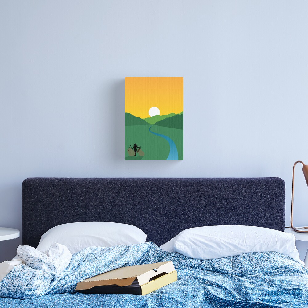 Sunrise Over a Paddy Field Canvas Print
