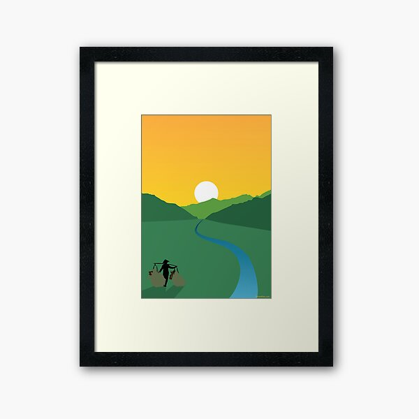 Sunrise Over a Paddy Field Framed Art Print