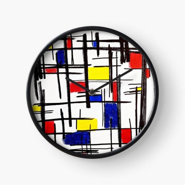 Mondrian Minimalist De Stijl Modern Art © epitomegirl Clock