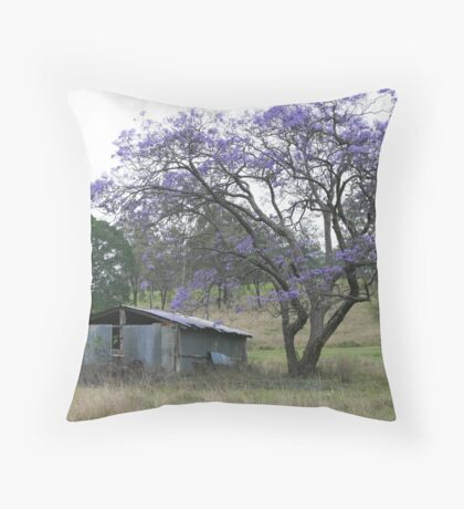 Jacaranda Tree beside a Ruin on Mt Barney Throw Pillow