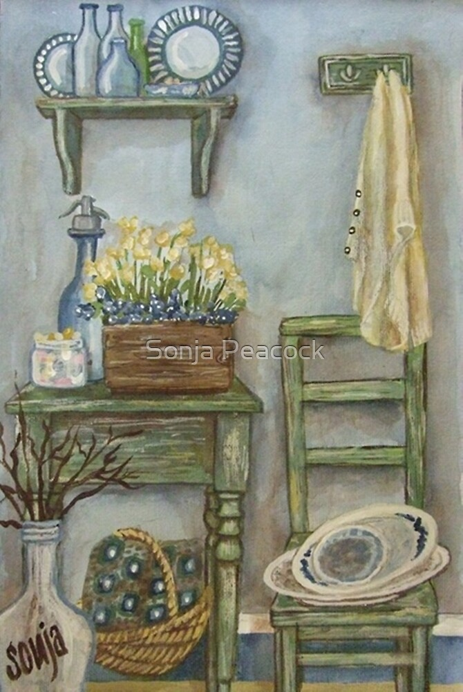 Blue and Green Still Life by Sonja Peacock