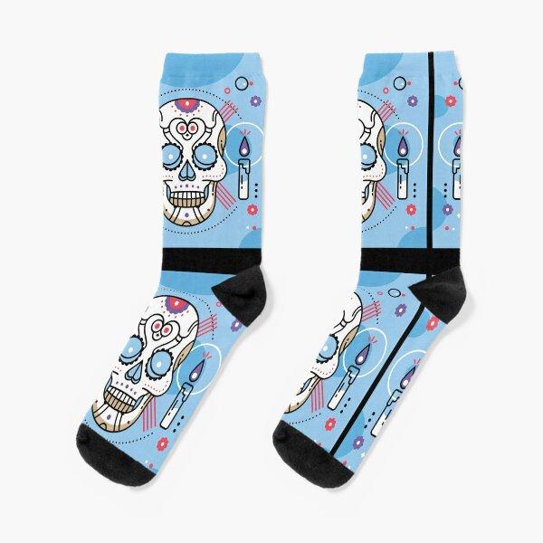 Super elastic socks Indie,Skull with Pipe Glasses,socks men pack black