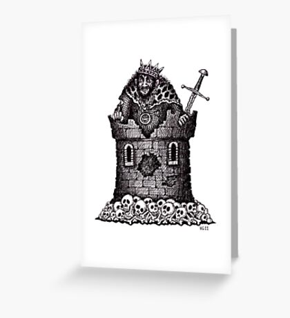 Lonely King surreal black and white pen ink drawing Greeting Card