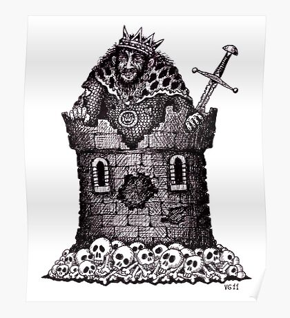 Lonely King surreal black and white pen ink drawing Poster
