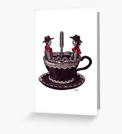 Cup of Coffee surreal black and white pen ink drawing Greeting Card