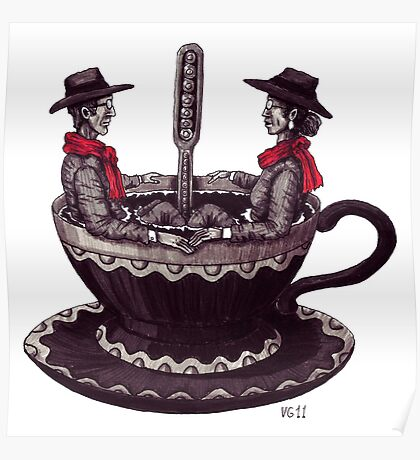 Cup of Coffee surreal black and white pen ink drawing Poster