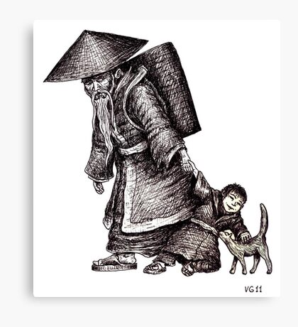 Old Chinese Man with his Grandson black and white pen ink drawing  Canvas Print