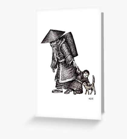 Old Chinese Man with his Grandson black and white pen ink drawing  Greeting Card