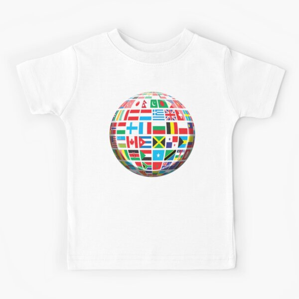 Flags of the Globe. World Flags. Global Flags. Global Peace. Kids T-Shirt