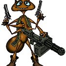 Funny Fire Ant with Guns cartoon drawing by Vitaliy Gonikman