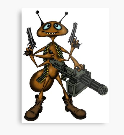 Funny Fire Ant with Guns cartoon drawing Metal Print