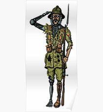 Vintage Cyborg Soldier cartoon drawing Poster